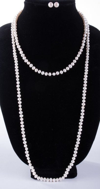 Pearl Necklaces & Earrings Trio