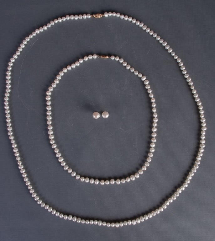 Pearl Necklaces & Earrings Trio - 3