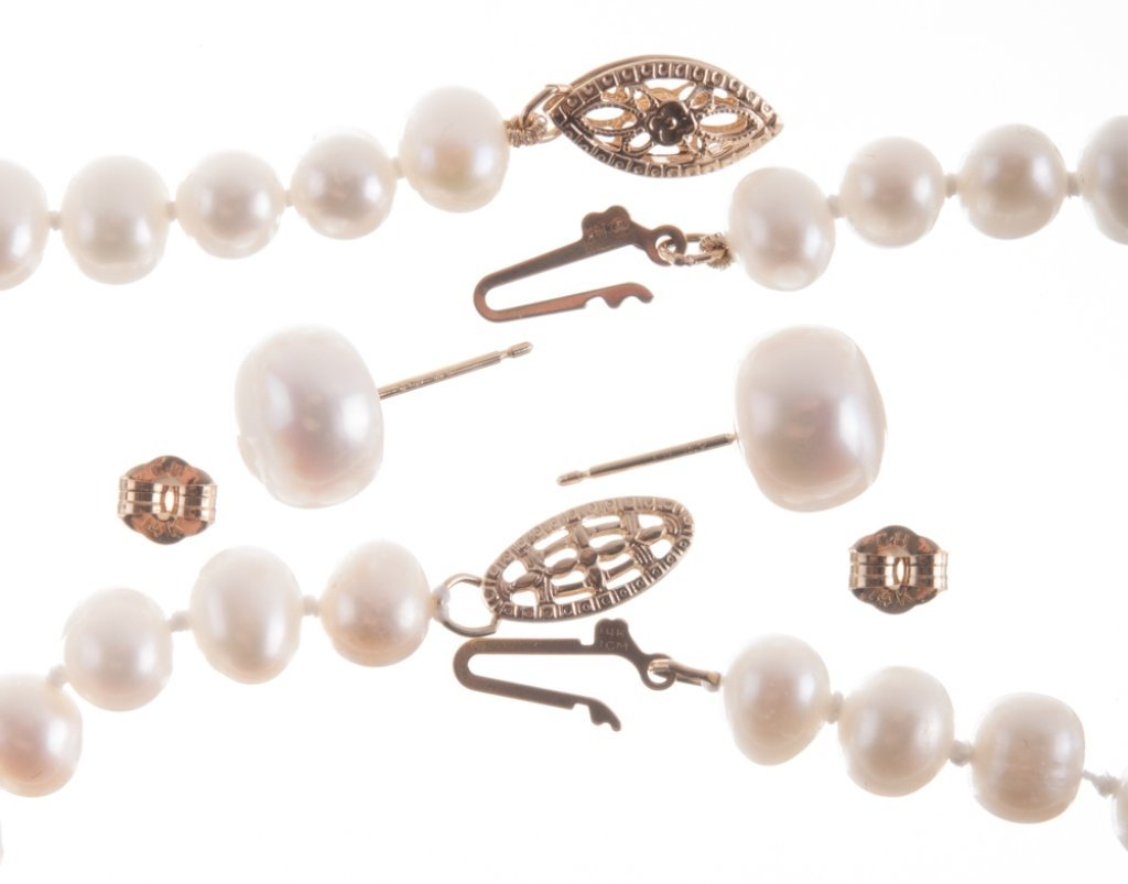 Pearl Necklaces & Earrings Trio - 4