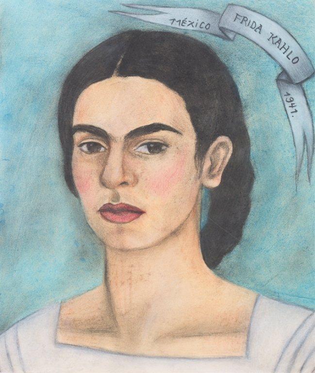 "Frida Kahlo ""Auto Retrato"" Pastel Drawing, C 1941"