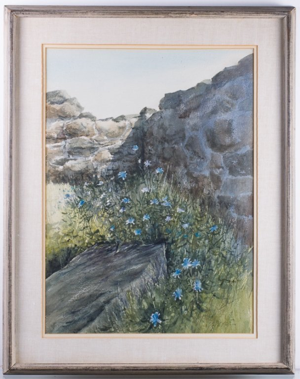 "Ray Ellis ""Chickory"" Landscape Watercolor, Framed"
