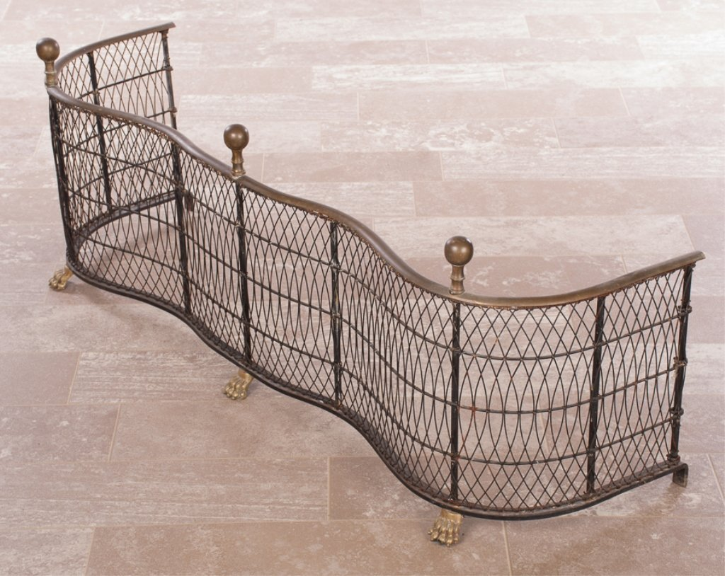 Federal Style Brass and Wire Fireplace Fender - 2