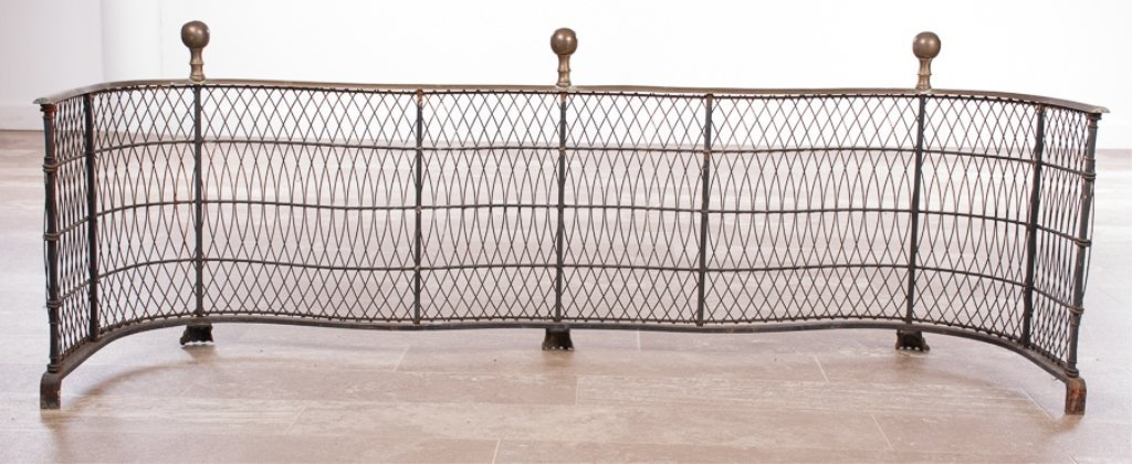 Federal Style Brass and Wire Fireplace Fender - 3
