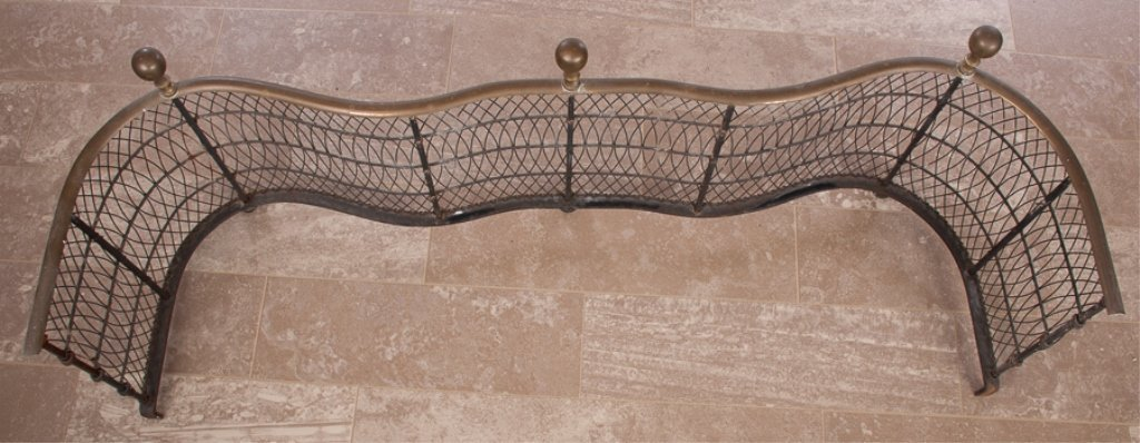 Federal Style Brass and Wire Fireplace Fender - 4