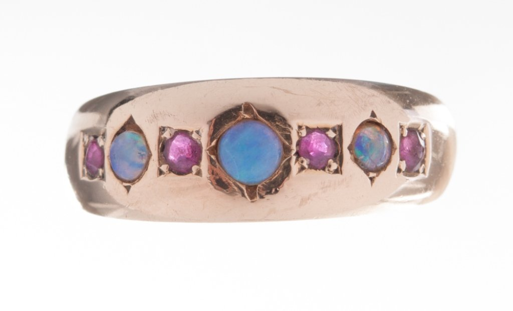 Opal and Ruby Ring 15K Gold