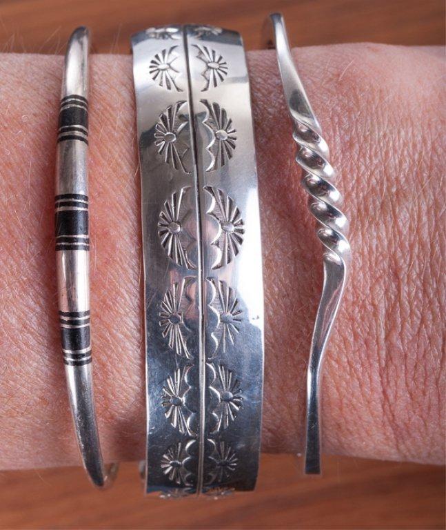 Southwestern Sterling Cuff Bracelets Trio - 2