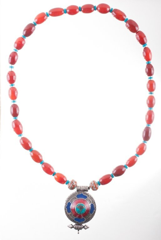 Carnelian, Turquoise, Coral and Silver Necklace