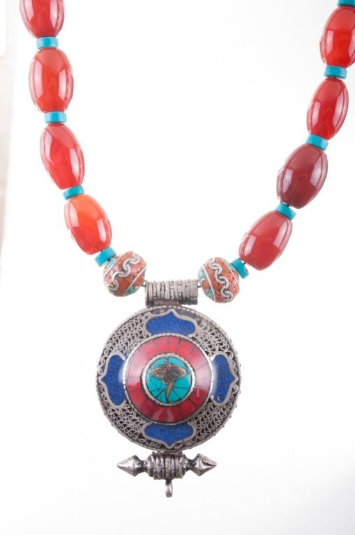 Carnelian, Turquoise, Coral and Silver Necklace - 2