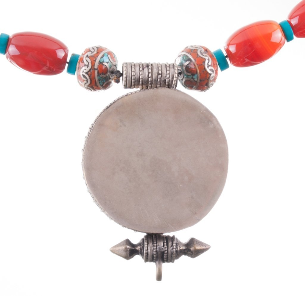 Carnelian, Turquoise, Coral and Silver Necklace - 3
