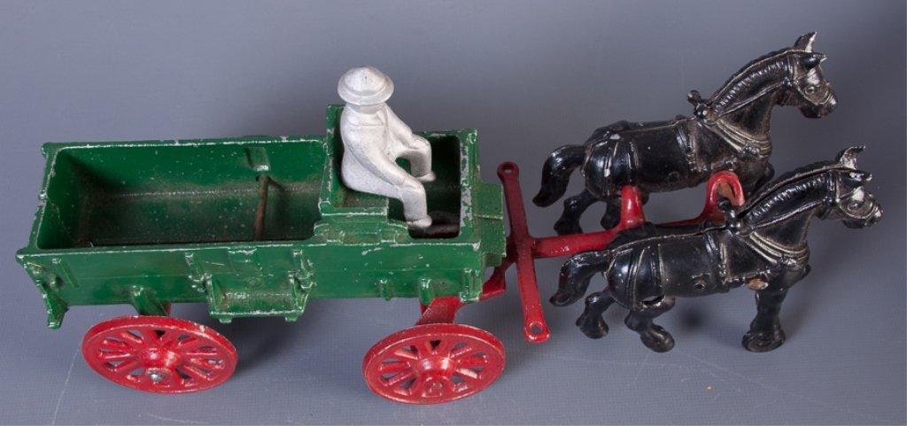 Stanley Toys Cast Iron Horse Drawn Farm Wagon - 2