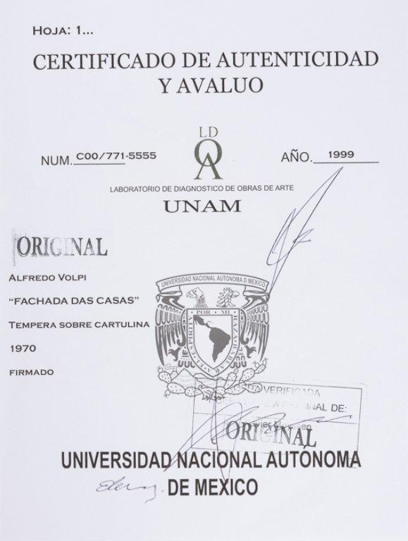 "Alfredo Volpi ""Fachada Das Casas"" Tempera on Paper - 5"