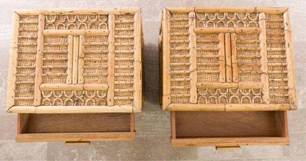 Bamboo Nightstands Pair - 4