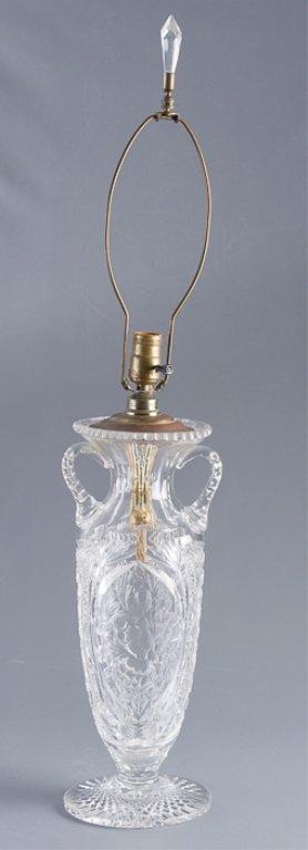 American Brilliant Period Cut Glass Vase Lamp