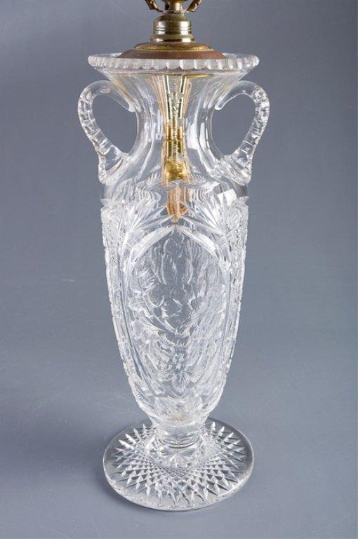 American Brilliant Period Cut Glass Vase Lamp - 2