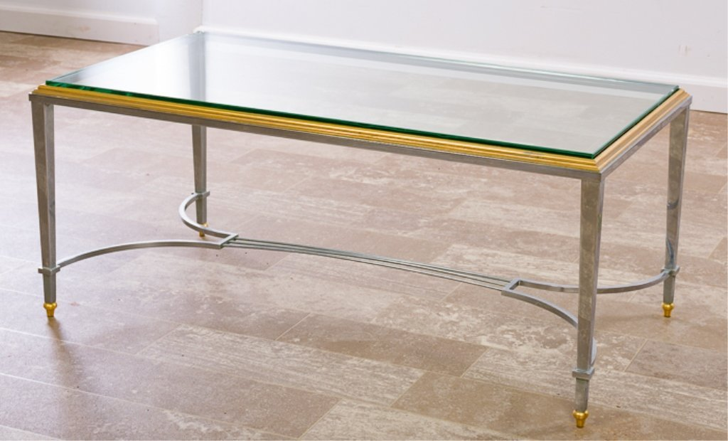 Maison Jansen Style Coffee Table, Glass Top