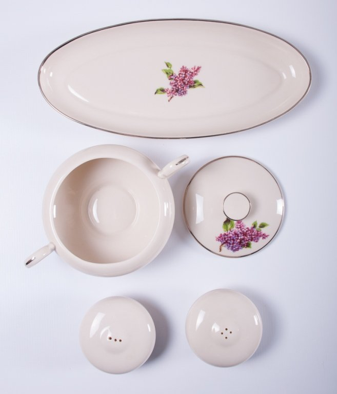 "Fine Arts ""Lilac"" Pattern Porcelain Dinner Service - 2"