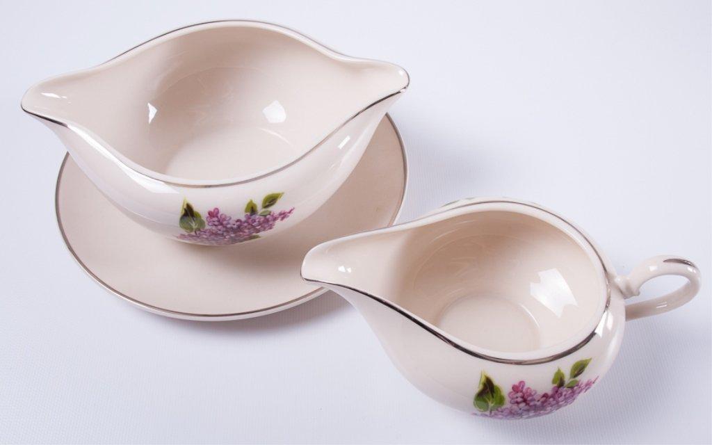 "Fine Arts ""Lilac"" Pattern Porcelain Dinner Service - 3"