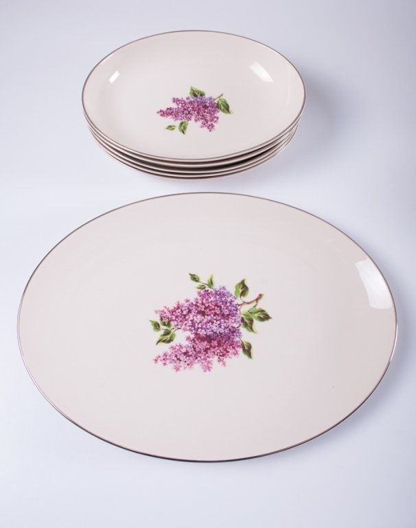 "Fine Arts ""Lilac"" Pattern Porcelain Dinner Service - 4"