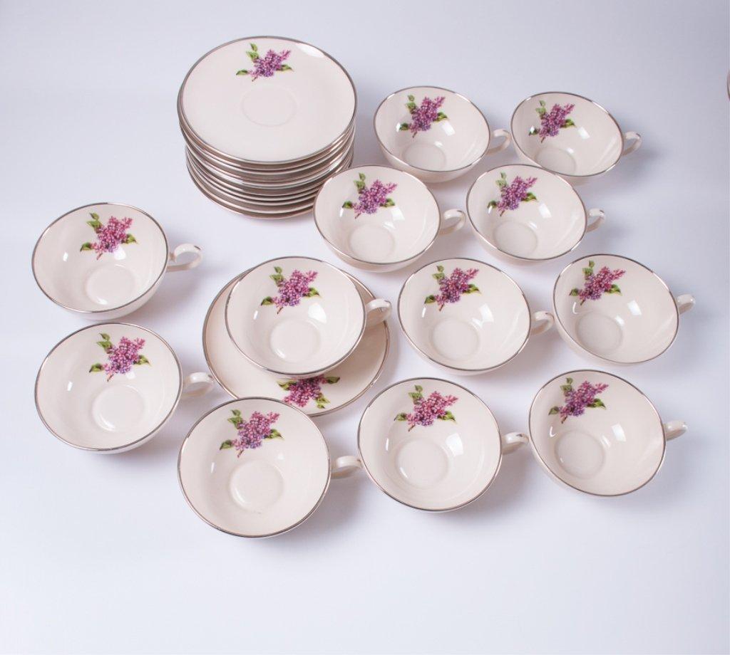 "Fine Arts ""Lilac"" Pattern Porcelain Dinner Service - 6"