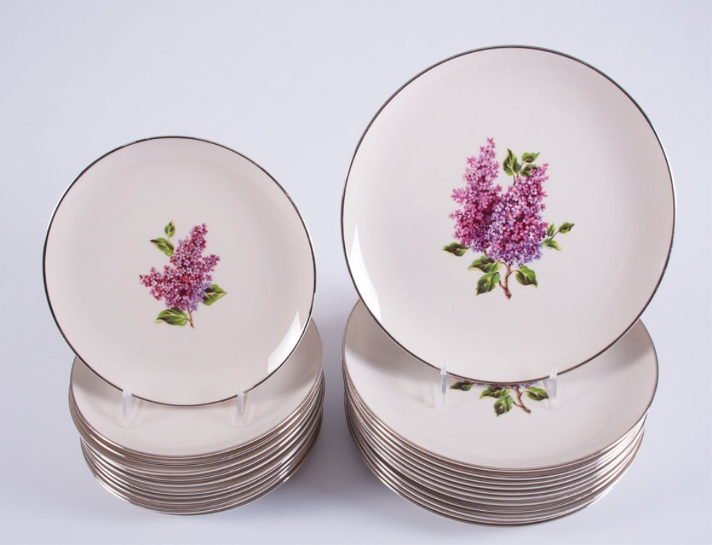 "Fine Arts ""Lilac"" Pattern Porcelain Dinner Service - 7"