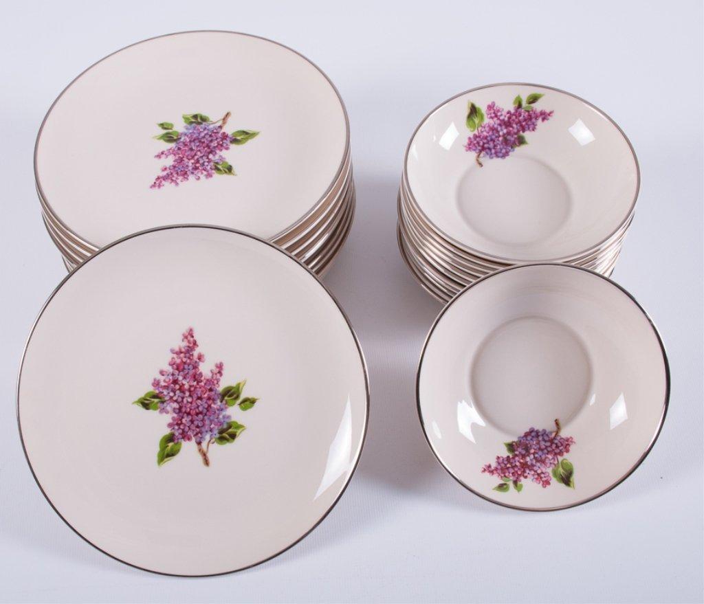 "Fine Arts ""Lilac"" Pattern Porcelain Dinner Service - 8"