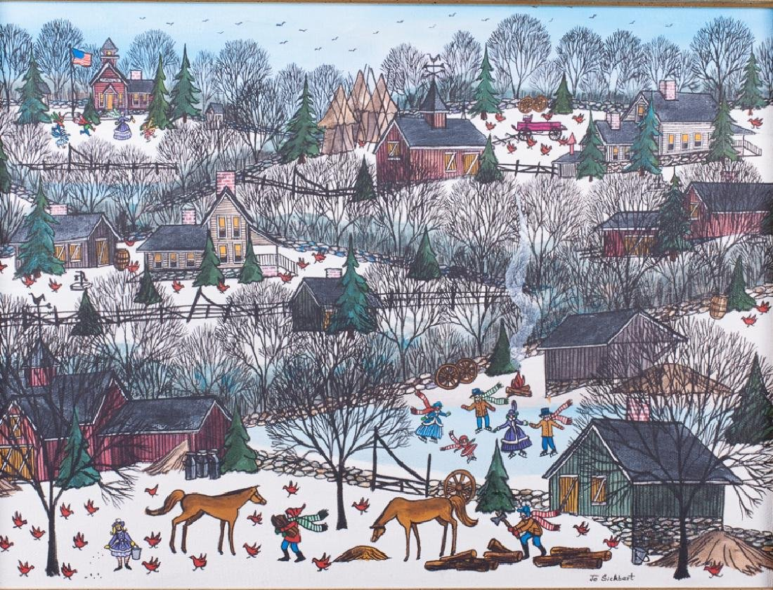 Jo Sickbert Winter Village Scene Oil on Canvas