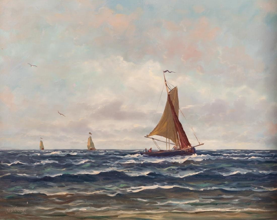 V.D. Velde Seascape Oil on Board
