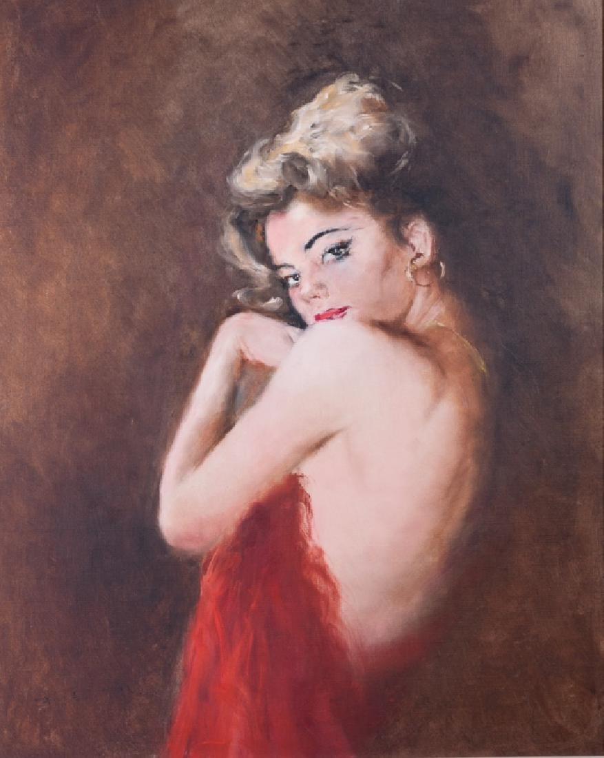 Pal Fried Portrait of a Dancer Oil on Canvas
