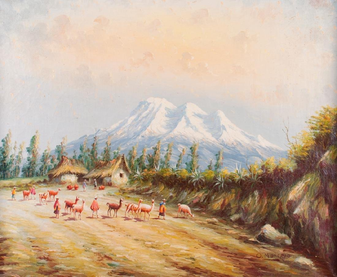 Oswaldo Moncayo Mountain Scene Oil On Canvas