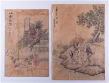 Korean Watercolor Paintings Pair Circa 1790s