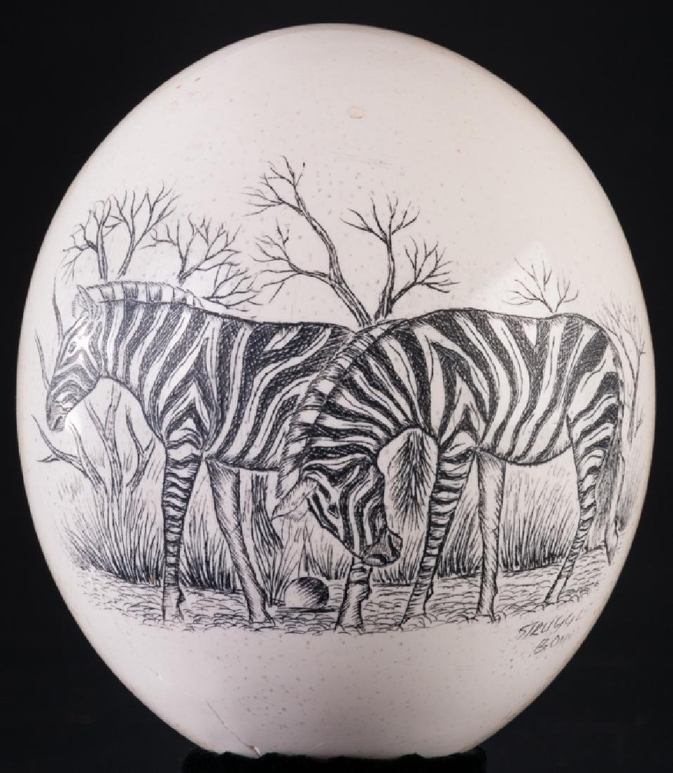 Etched Ostrich Egg of Zebras