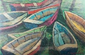 "Larry Edwardson ""Boat Mooring Oil On Masonite"