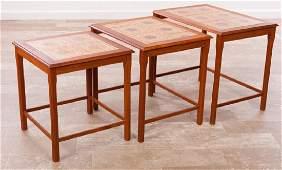 Danish Tile Top Nesting Tables Trio