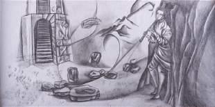 """Remedios Varo """"Estudio"""" Graphite & Pencil Drawing"""