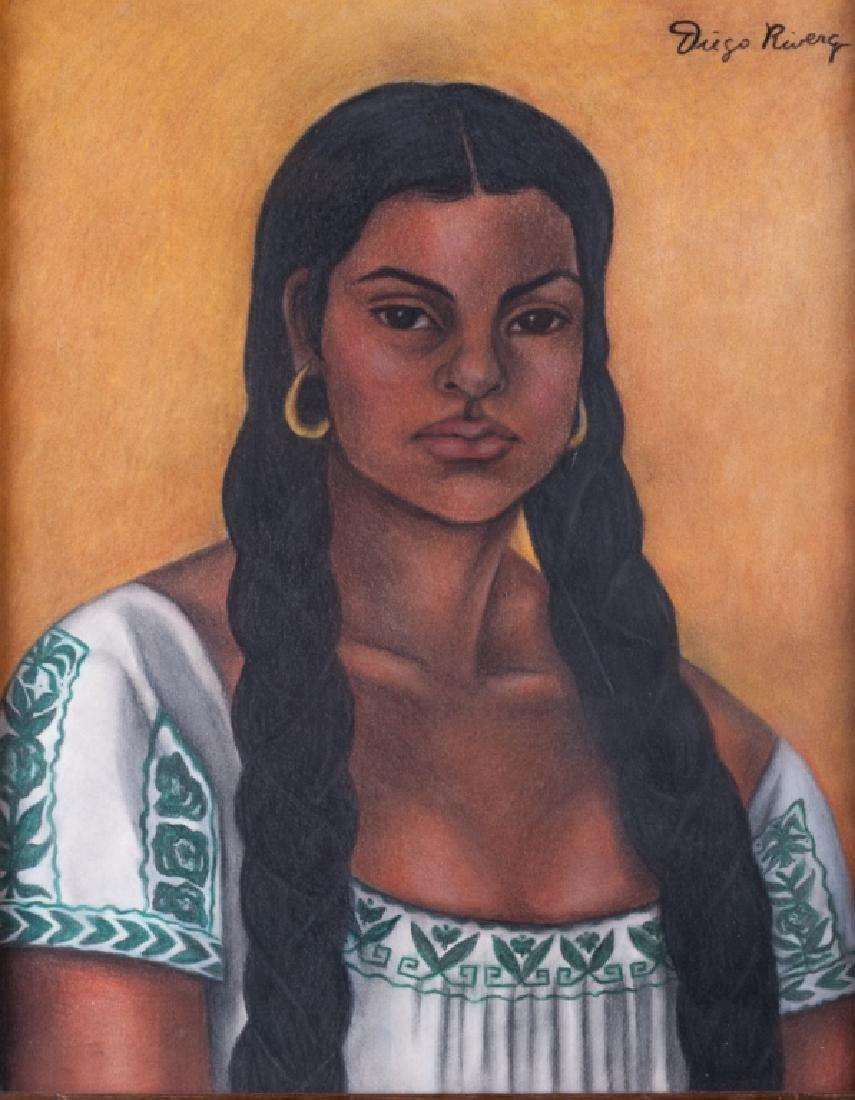 "Diego Rivera ""Guadalupe Rivera"" Pastel & Charcoal"