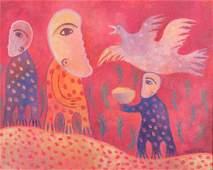 """Manuel Mendive """"El Ave"""" Acrylic On Canvas"""