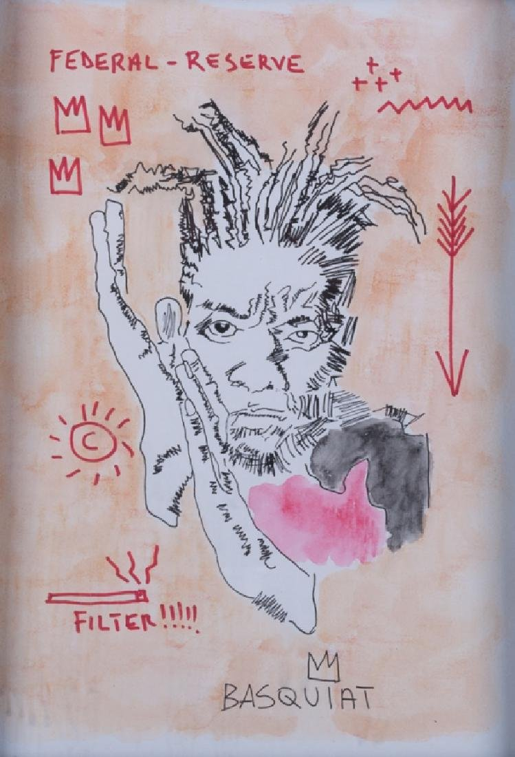 """Basquiat Mixed Media on Paper, """"Federal Reserve"""""""
