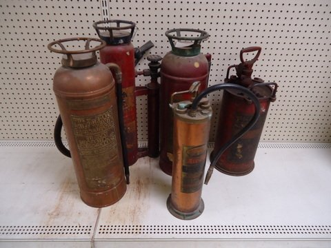 Lot of 7 Antique Fire Extinguishers