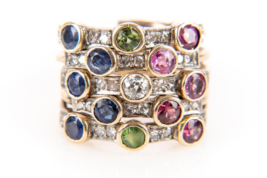14K Gold, Diamond & Gem Stone Stacking Ring