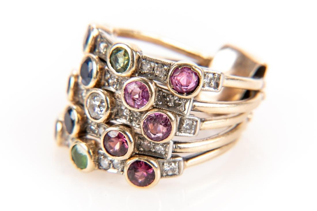 14K Gold, Diamond & Gem Stone Stacking Ring - 2