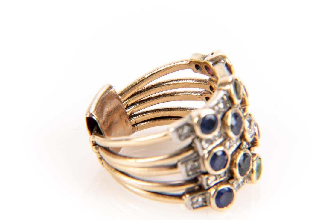 14K Gold, Diamond & Gem Stone Stacking Ring - 3