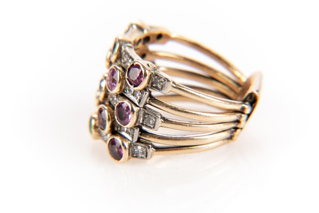 14K Gold, Diamond & Gem Stone Stacking Ring - 4