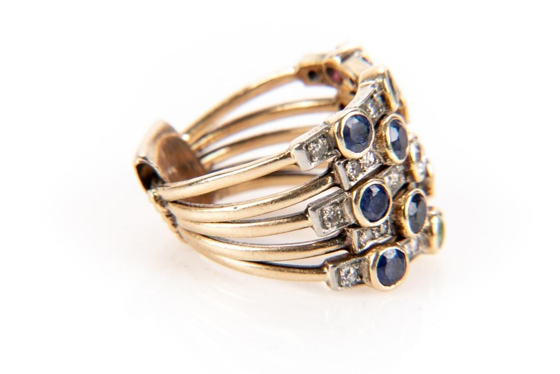 14K Gold, Diamond & Gem Stone Stacking Ring - 5