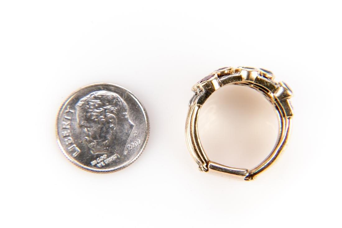14K Gold, Diamond & Gem Stone Stacking Ring - 6