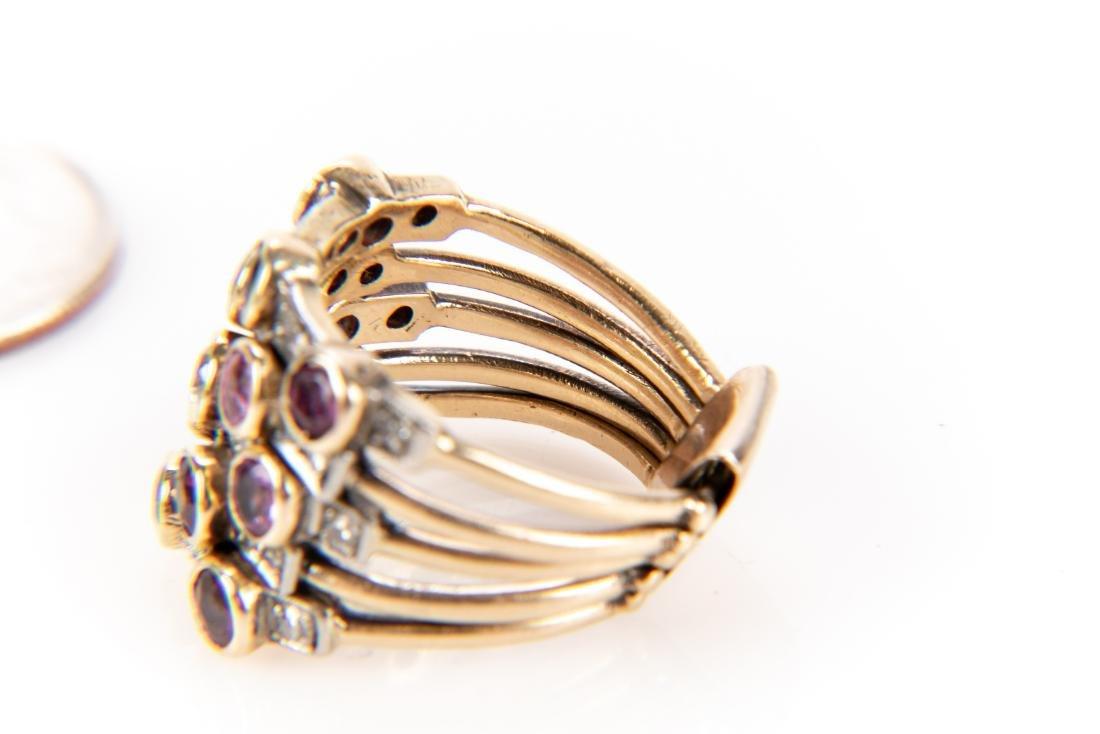 14K Gold, Diamond & Gem Stone Stacking Ring - 7