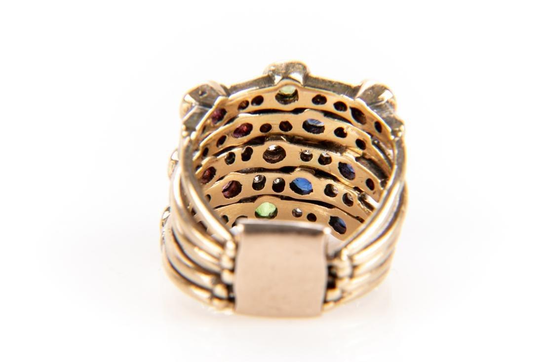 14K Gold, Diamond & Gem Stone Stacking Ring - 8