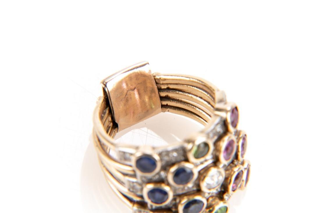 14K Gold, Diamond & Gem Stone Stacking Ring - 9