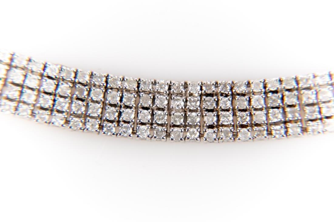 5CT Quadruple Row Diamond Tennis Bracelet Set In 14K