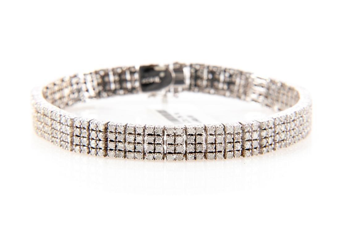 5CT Quadruple Row Diamond Tennis Bracelet Set In 14K - 5