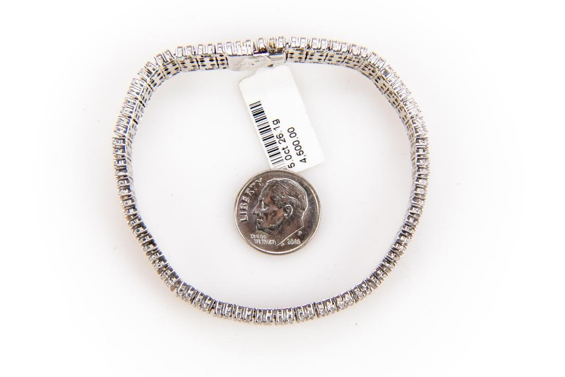5CT Quadruple Row Diamond Tennis Bracelet Set In 14K - 7